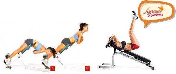Упражнения гиперэкстензия и пресс на наклонной скамье